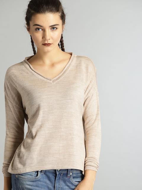 Roadster Women Beige Self-Design Pullover