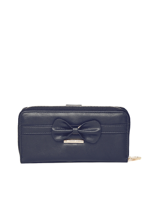 Diana Korr Women Navy Blue Solid Zip Around Wallet with Bow Detail