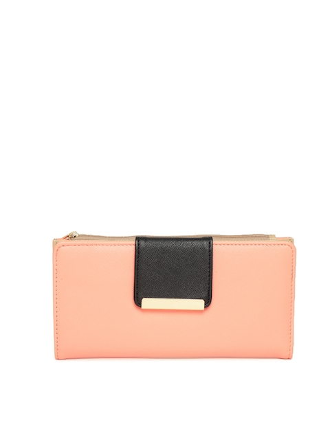 Diana Korr Women Peach-Coloured & Black Solid Two Fold Wallet