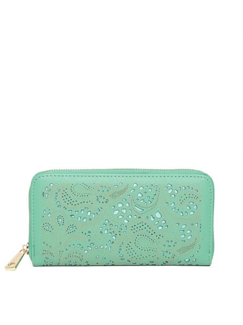 Diana Korr Women Green Cut-Out Zip Around Wallet