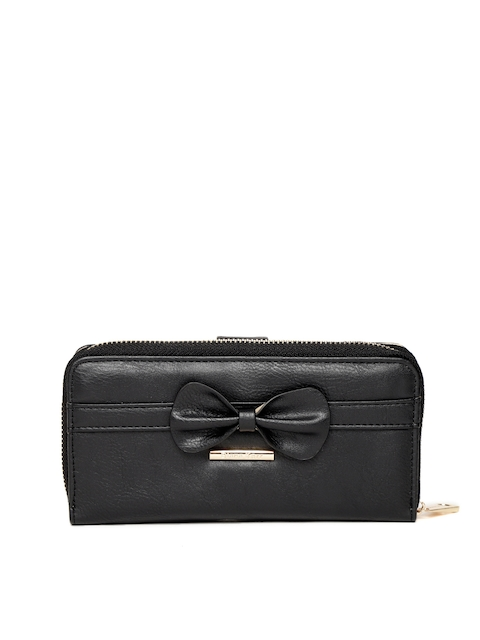Diana Korr Women Black Solid Solid Zip Around Wallet with Bow Detail