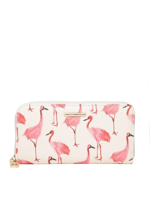 Diana Korr Women Beige & Pink Flamingo Print Zip Around Wallet