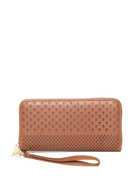 Diana Korr Women Brown Cut-Out Zip Around Wallet
