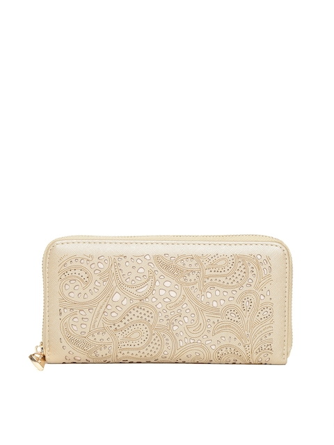 Diana Korr Women Gold-Toned Cut-Out Zip Around Wallet