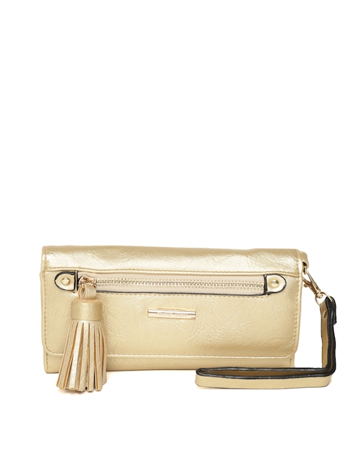 Diana Korr Women Gold-Toned Solid Three Fold Wallet