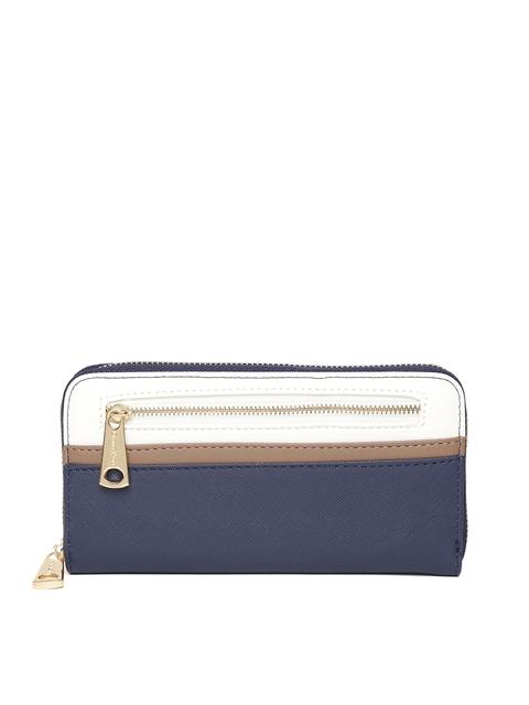 Diana Korr Women Navy & White Colourblocked Zip Around Wallet