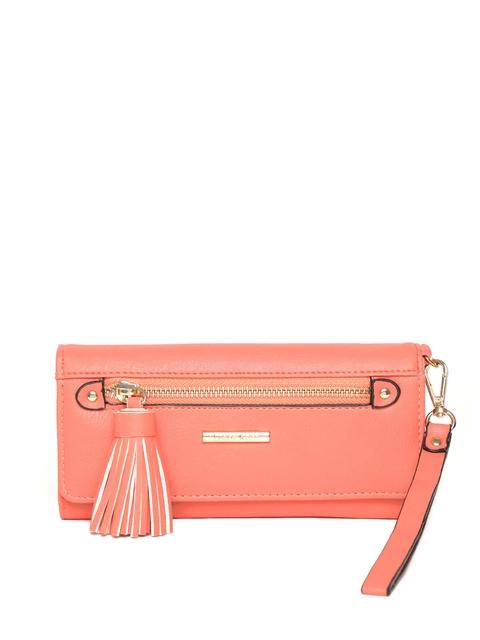 Diana Korr Women Peach-Coloured Solid Three Fold Wallet