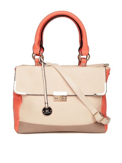Diana Korr Cream-Coloured & Peach-Coloured Colourblocked Handheld Bag