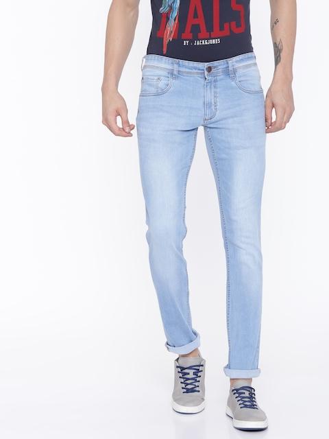 Park Avenue Men Blue Regular Fit Mid-Rise Low Distress Stretchable Jeans