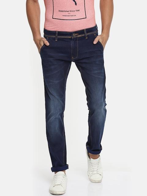 Park Avenue Men Blue Regular Fit Mid-Rise Mildly Distressed Stretchable Jeans