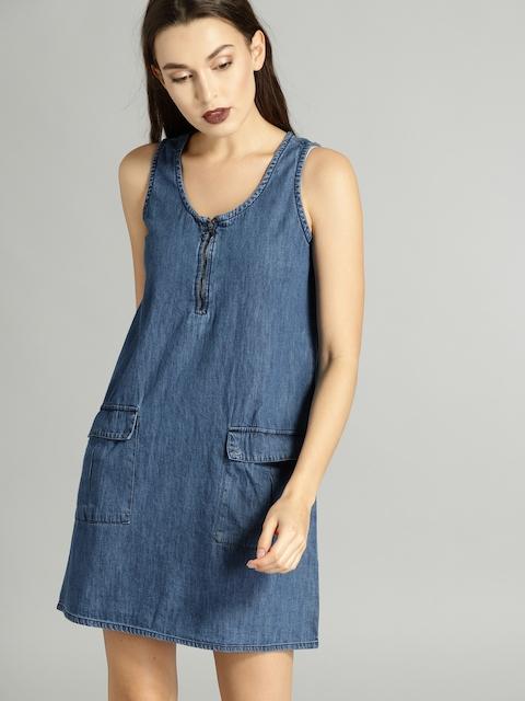 Roadster Women Blue Solid A-Line Denim Dress