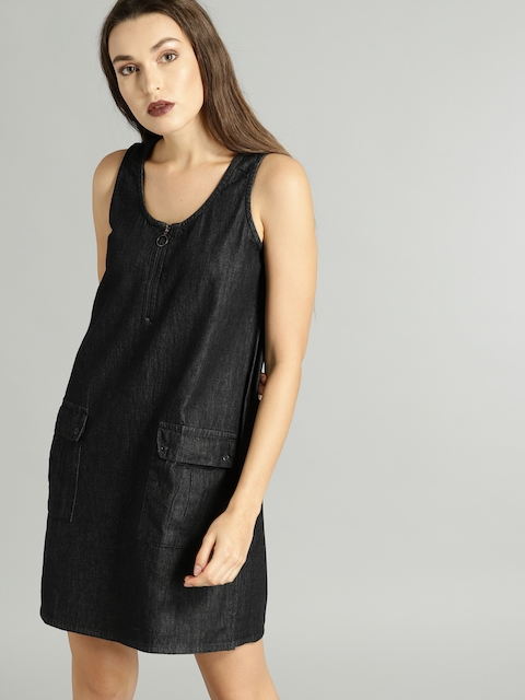 Roadster Women Black Solid A-Line Dress