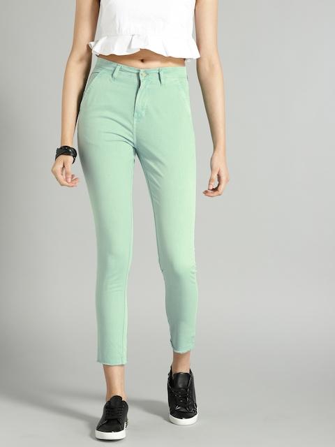 Roadster Women Sea Green Solid Trousers