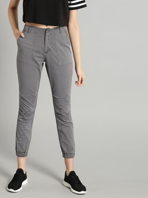 Roadster Women Grey Regular Fit Solid Joggers