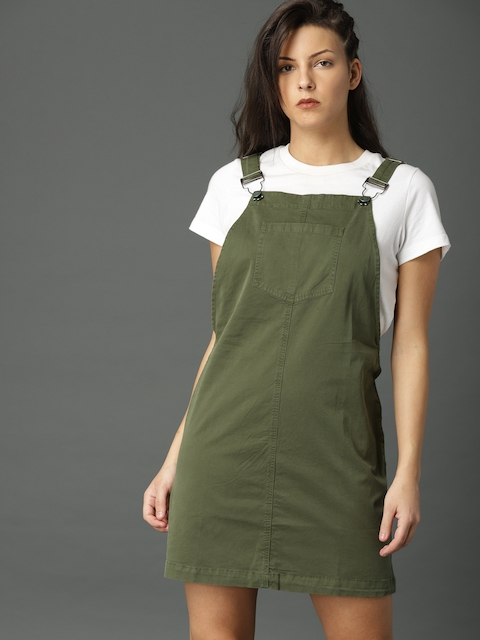 Roadster Olive Green Dungaree Dress