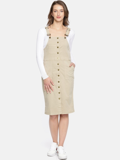 Roadster Women Beige Solid Pinafore Dress