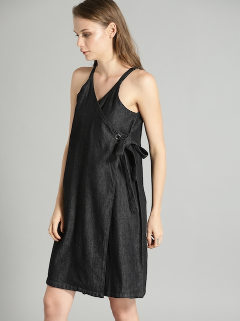 Roadster Women Black Denim Wrap Dress