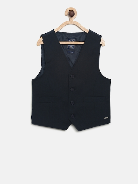 Allen Solly Junior Boys Navy Blue Solid Ultra Fit Waistcoat
