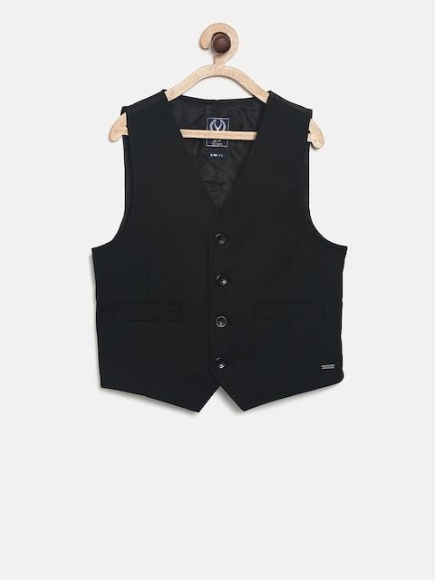 Allen Solly Junior Boys Black Solid Ultra Fit Waistcoat