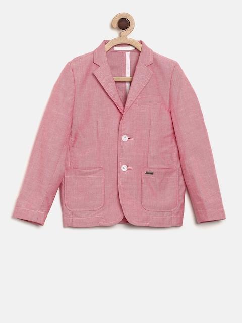 Allen Solly Junior Boys Pink Regular Fit Single-Breasted Formal Blazer