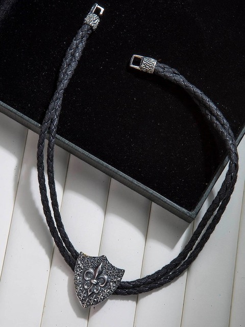 Dare by Voylla Black Fabric Silver-Plated Handcrafted Wraparound Bracelet