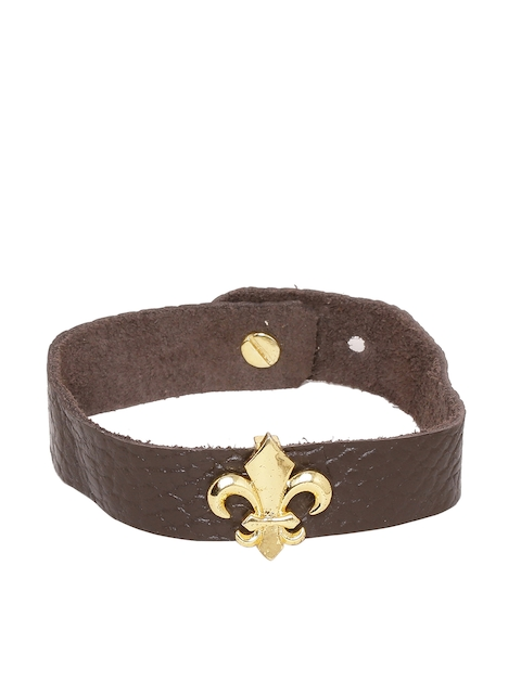 Dare by Voylla Brown Leather Gold-Plated Handcrafted Wraparound Bracelet