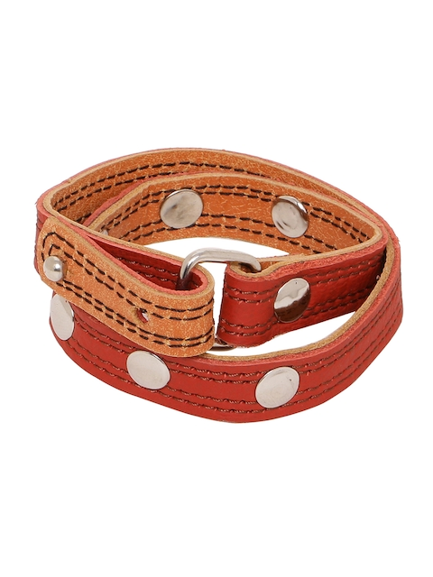 Dare by Voylla Men Red & Orange Leather Silver-Plated Handcrafted Wraparound Bracelet