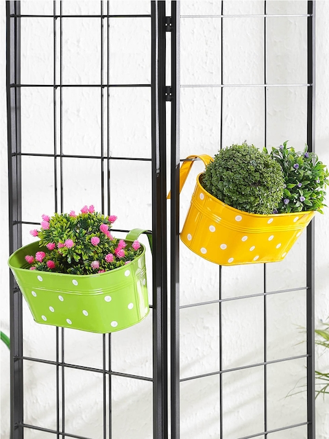green girgit Set of 2 Yellow & Green Printed Oval Hanging Planters