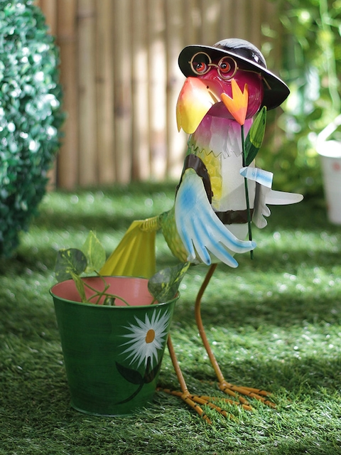 green girgit Green Hen With Hat & Glasses Planter