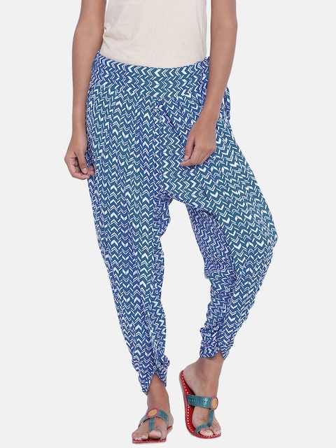 9rasa Women Blue Printed Dhoti
