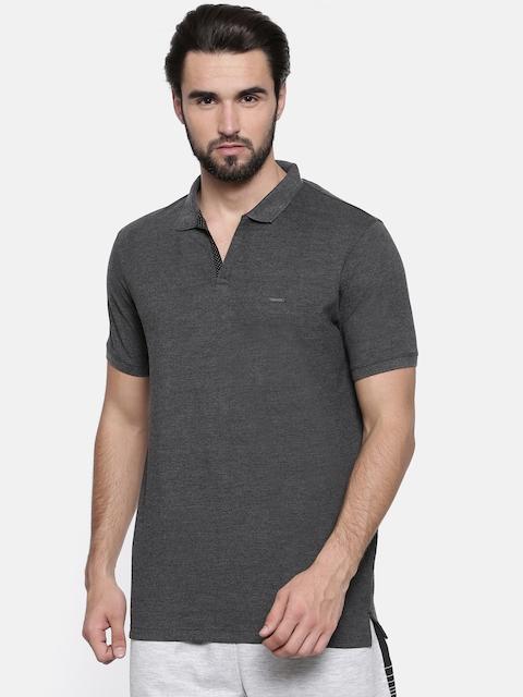Proline Men Charcoal Solid Polo Collar T-shirt