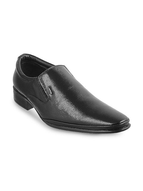 Metro Men Black Solid Leather Slip-Ons