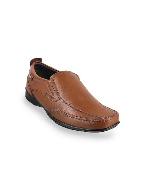 Metro Men Tan Solid Leather Slip-Ons
