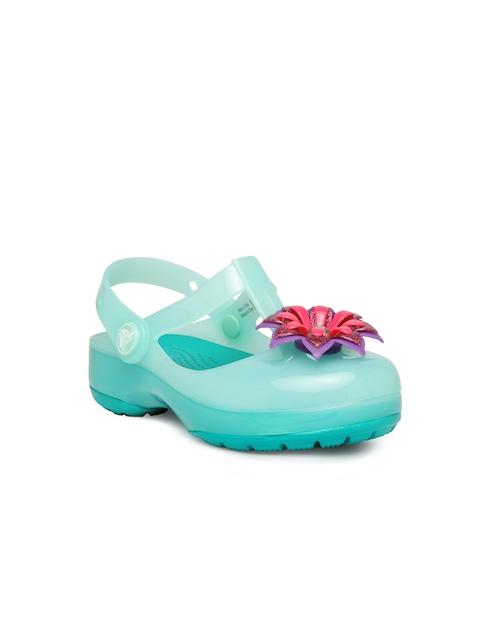Crocs Girls Turquoise Blue Embellished Clogs