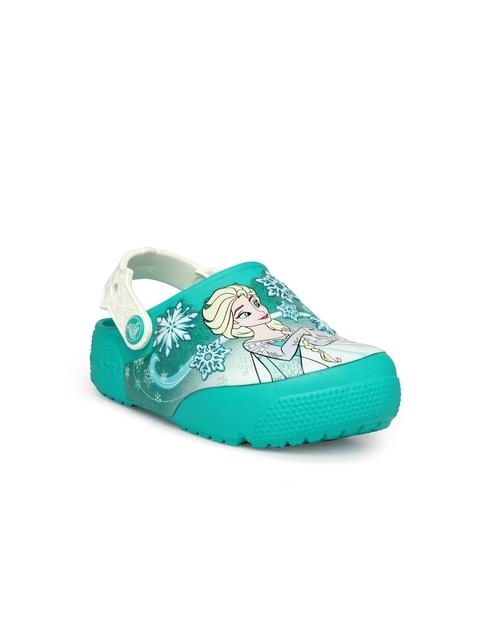 Crocs Girls Turquoise Blue Printed Clogs