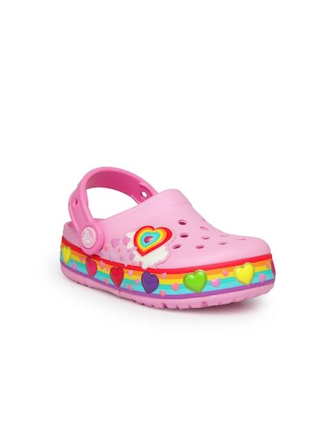 Crocs Girls Pink Self Design Clogs