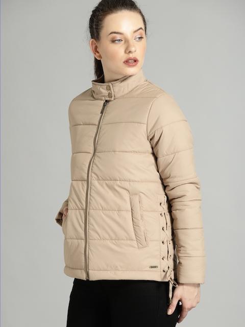 Roadster Women Beige Solid Padded Jacket