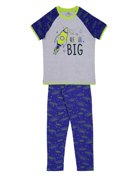 ventra Boys Grey & Blue Printed Night suit VNT-5001261-67