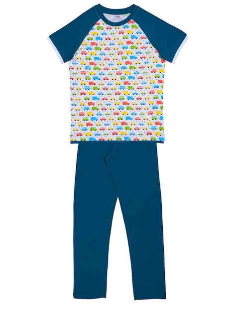 ventra Boys Off-White & Teal Blue Printed Night suit VNT-5001271-1011