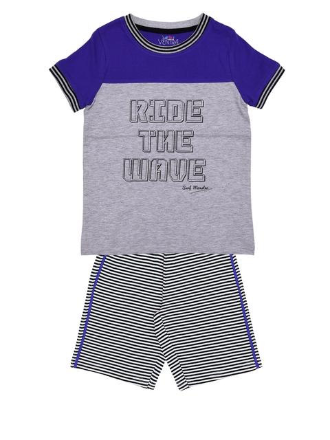 ventra Boys Purple & Grey Printed Night suit VNT-5001271-1011