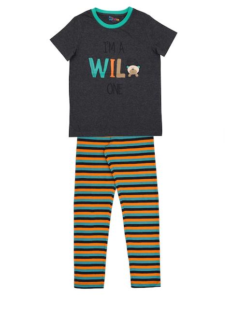 ventra Boys Charcoal Grey & Orange Printed Night suit VNT-5001260-67