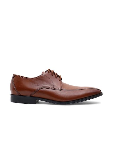 Clarks Men Tan Brown Leather Formal Derby Shoes