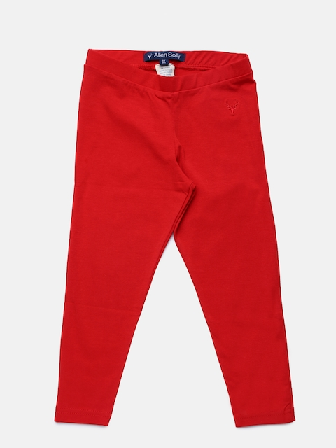 Allen Solly Junior Girls Red Ankle-length Leggings