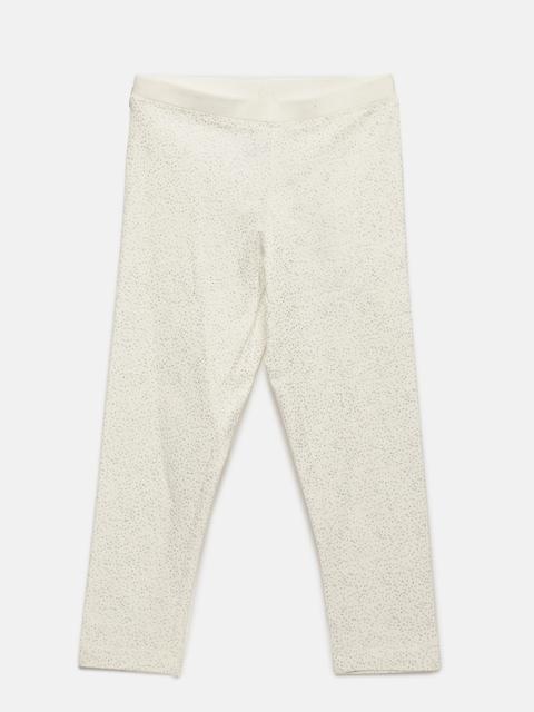 Allen Solly Junior Girls White Self Design Leggings