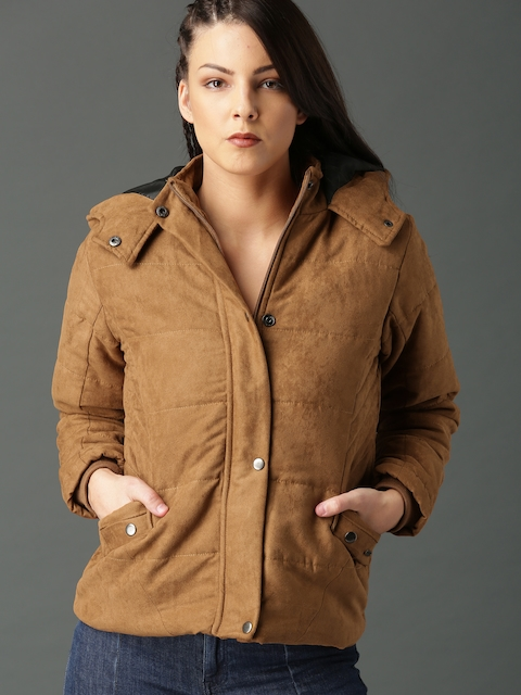 Roadster Women Tan Solid Tailored Jacket