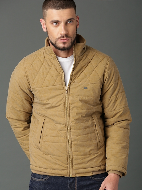Roadster Men Tan Solid Padded Jacket