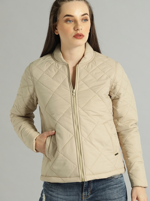 Roadster Women Beige Solid Quilted Jacket