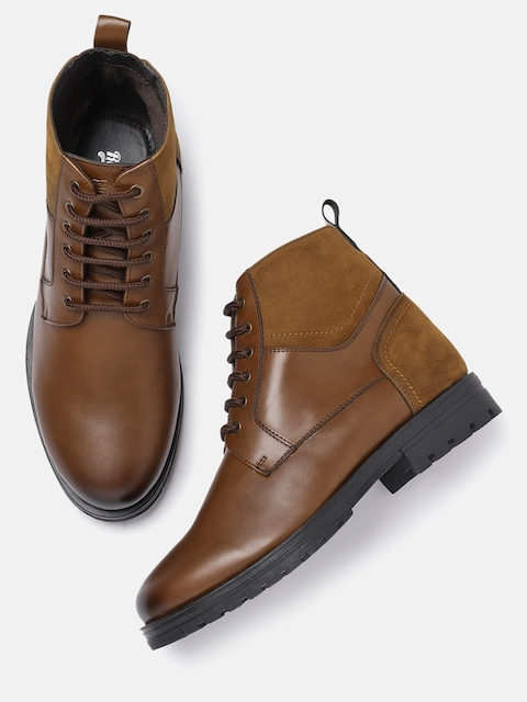 Roadster Men Tan Solid Synthetic Leather High-Top Flat Boots