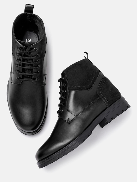 Roadster Men Black Solid Synthetic Leather High-Top Flat Boots