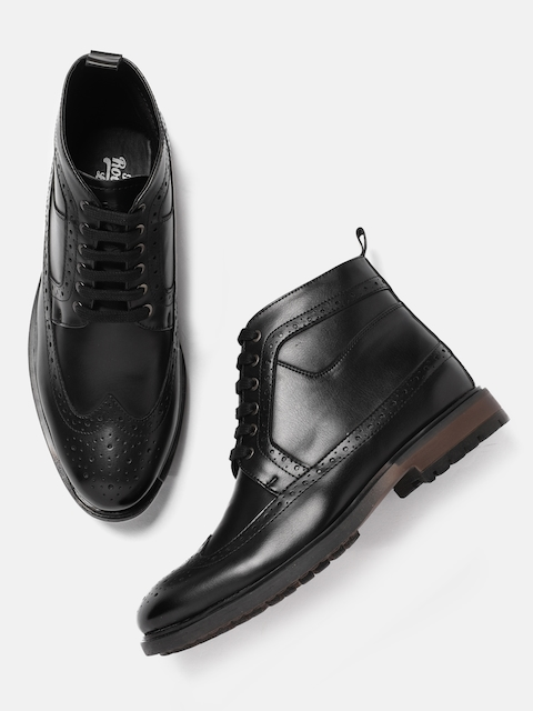 Roadster Men Black Solid Synthetic Leather Mid-Top Flat Boots